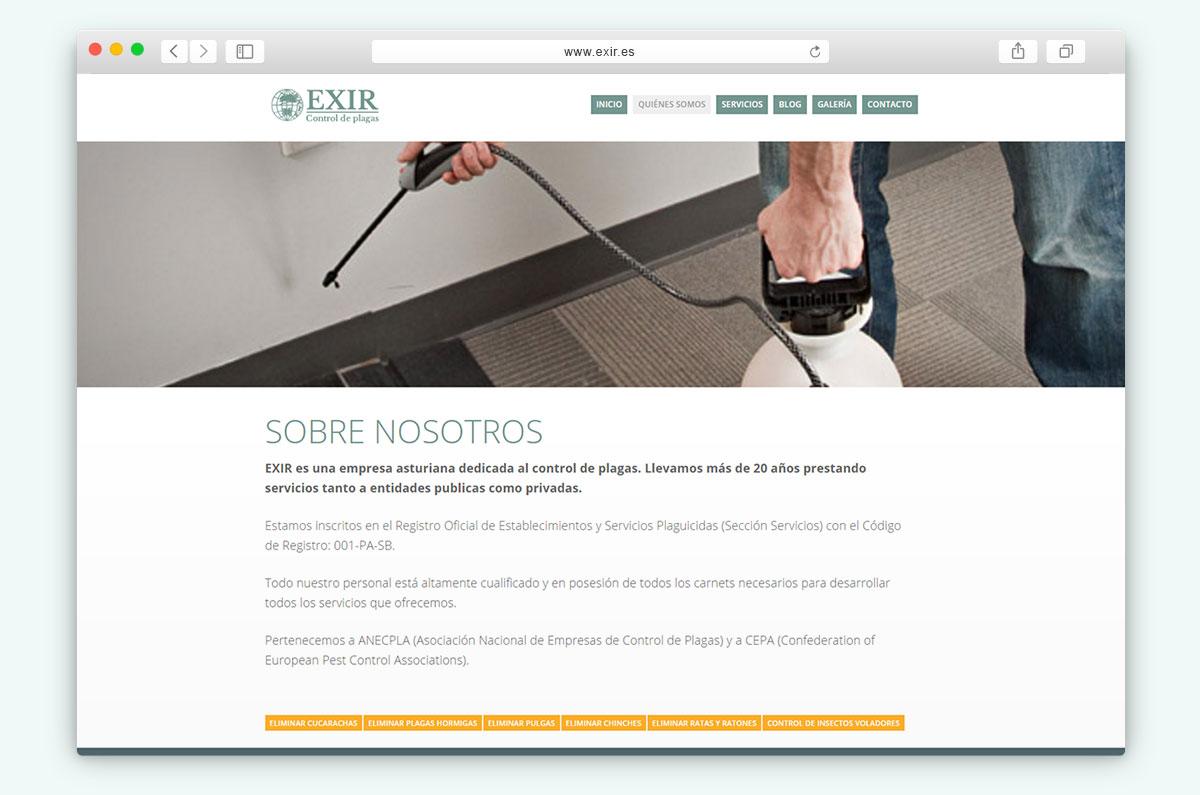 EXIR Control de plagas - Vista navegador